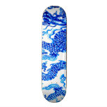 Blue Chinese Dragon Vintage Vase Art Wall Board Skate Board
