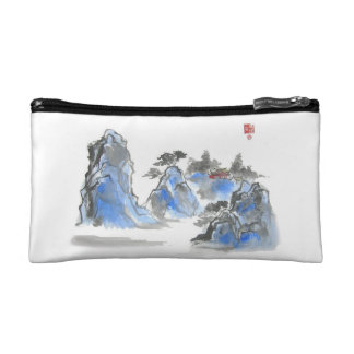 Blue Chinese Mountain Landscape Bag Cosmetics Bags