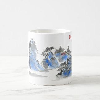 Blue Chinese Mountain Landscape Mug