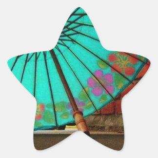 Blue Chinese Umbrella Star Stickers