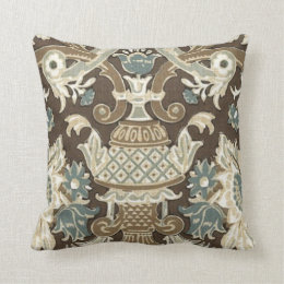 Blue,Choco Brown,Grey Floral Designed Thorw Pillow