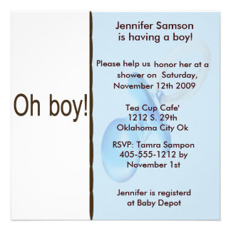 Blue & Chocolate Brown Baby Boy Shower Invitations