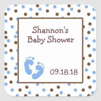 Blue & Chocolate Brown Baby Shower Favor with feet Square Sticker
