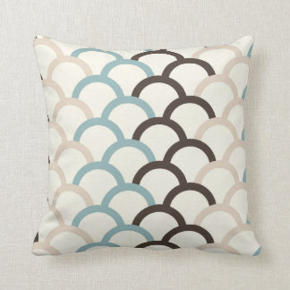 Blue, Chocolate, Cream Abstract Pillow