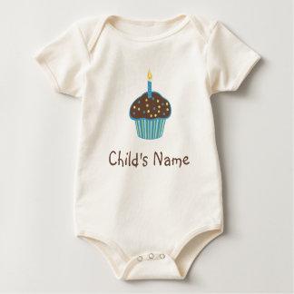 Blue Chocolate Cupcake Baby Bodysuit