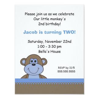 Blue & Chocolate Monkey Birthday Party Invitation