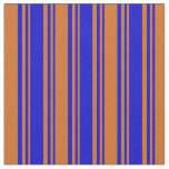 [ Thumbnail: Blue & Chocolate Striped/Lined Pattern Fabric ]