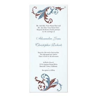 Blue & Chocolate Swirls Damask Elegant Wedding Card