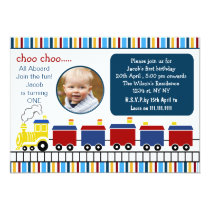 blue choo choo train first birthday photo invite