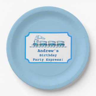 Blue Choo-Choo Train Ticket Birthday Party Paper Plate