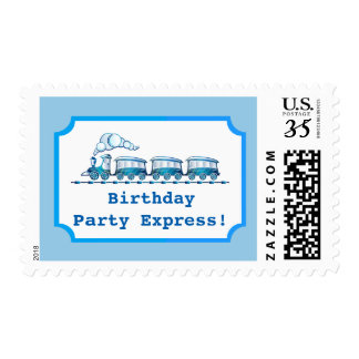 Blue Choo-Choo Train Ticket Birthday Party Postage
