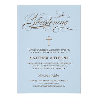 Blue Christening Invitation Baptism Invitation