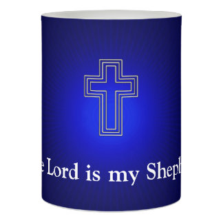 Blue Christian Cross Flameless Candle