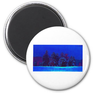 Blue Christmas 2 Inch Round Magnet