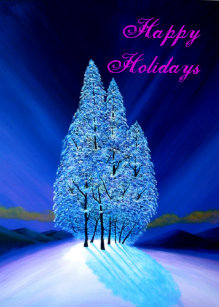 blue christmas 7 northern lights fir trees holiday card