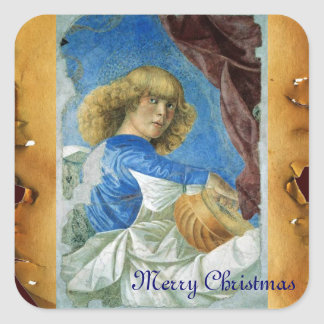 BLUE CHRISTMAS ANGEL MAKING MUSIC OLD PARCHMENT SQUARE STICKER