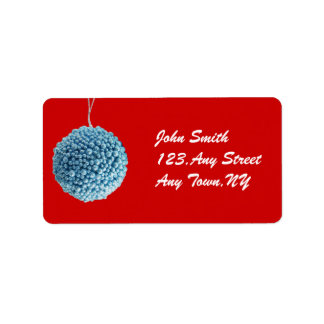 Blue Christmas Ball Address Label Template