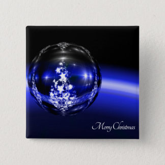 Blue christmas ball stars holidays button