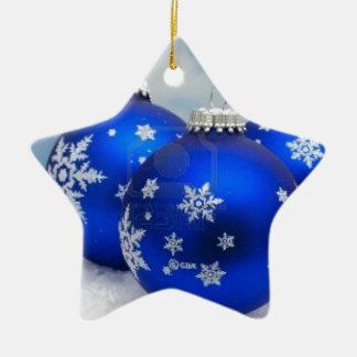 Blue Christmas Balls on Snow Ceramic Ornament
