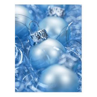 Blue Christmas Balls Postcard