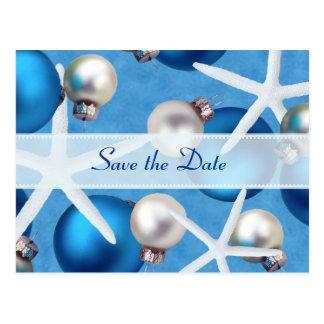 Blue Christmas Beach Wedding Save the Date Cards