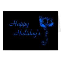 Blue Christmas Bells - Dark Card