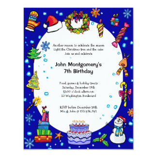 Blue Christmas Birthday Party Invitation