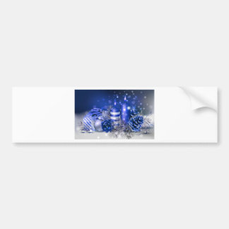 Blue Christmas Candles and Pine Cones Bumper Sticker