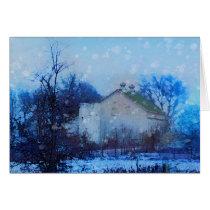 """""""Blue Christmas"""", Christmas cards, farm, barn Card"""