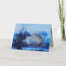 """""""Blue Christmas"""", Christmas cards, farm, barn Holiday Card"""