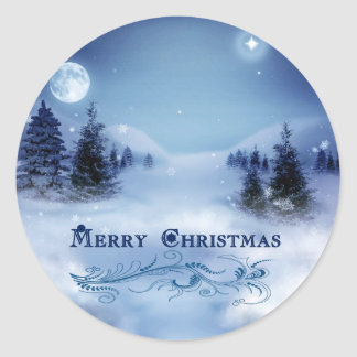 Blue Christmas Classic Round Sticker