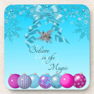 Blue Christmas Coasters ornaments bow believe pink