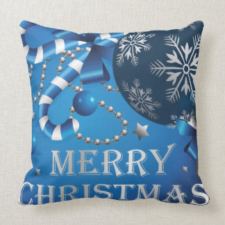 Blue Christmas cushion with writing Pillows