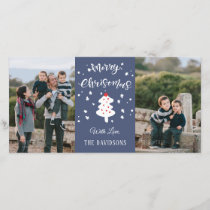 Blue Christmas Family Holiday Card