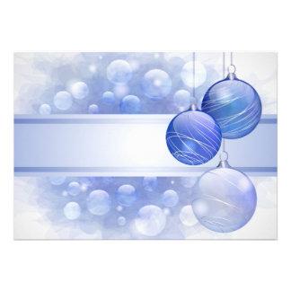 Blue Christmas Flat Card Custom Invitation