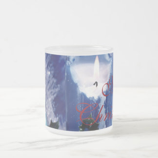 Blue Christmas Frosted Glass Coffee Mug