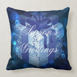 Blue Christmas Gift Throw Pillow