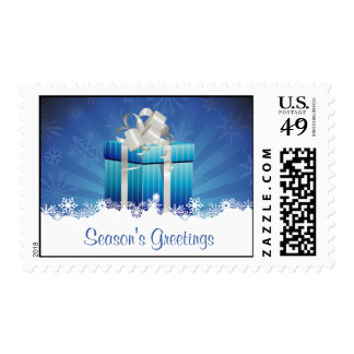 Blue Christmas Gifts with Snowflakes Postage