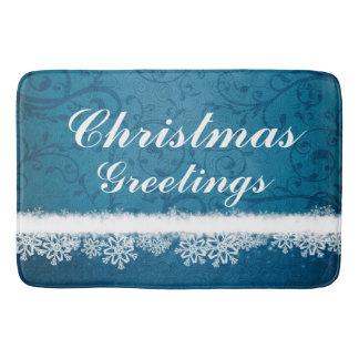Blue Christmas Greetings Snowflakes Bath Mats