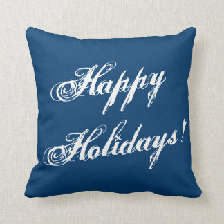 Blue Christmas Happy Holiday vintage sofa cushion