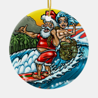 Blue Christmas Hawaiian Surfing Santa Illustration Double-Sided Ceramic Round Christmas Ornament