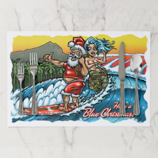 Blue Christmas Hawaiian Surfing Santa Illustration Paper Placemat