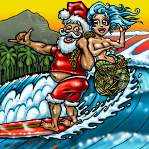 blue christmas hawaiian surfing santa illustration paper plate - Christmas In Hawaiian