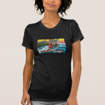 Blue Christmas Hawaiian Surfing Santa Illustration Tee Shirt