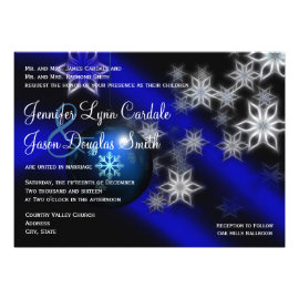 Blue Christmas Holiday Winter Wedding Invitations
