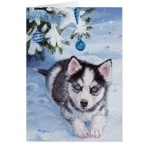 Blue Christmas Husky Dog Pup Xmas Card