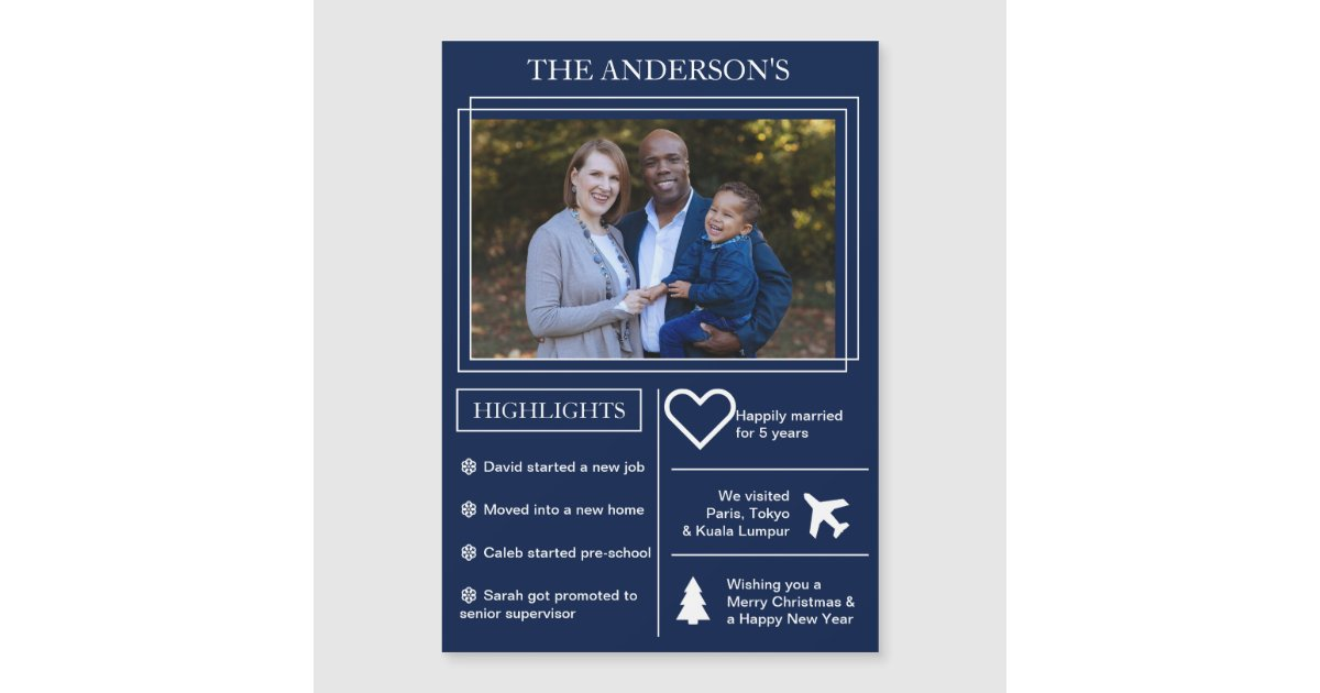Blue Christmas Infographic Holiday Magnetic Card | Zazzle.com