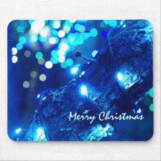 Blue Christmas Lights Mousepad