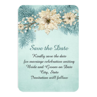 Blue Christmas Miracle Save the date Card
