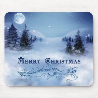 Blue Christmas Mouse Pad